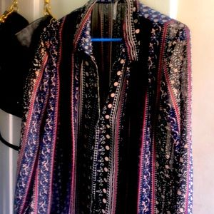 Free People Printed Button Down Size Medium